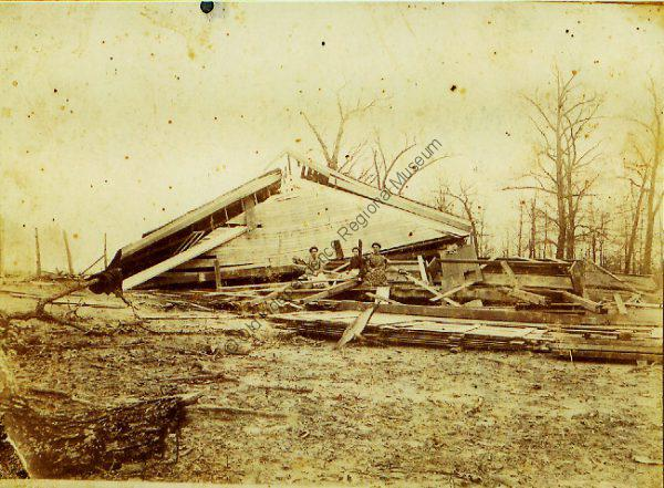 Hopewell Cumberland Presbyterian Church after a tornado in March of 1904