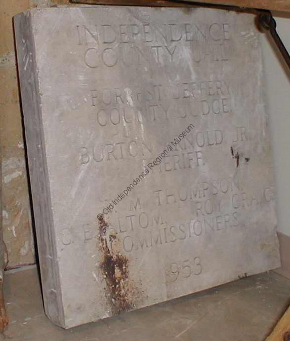 Cornerstone of the Independence County Jail which was built in 1953 and demolished in March 2000