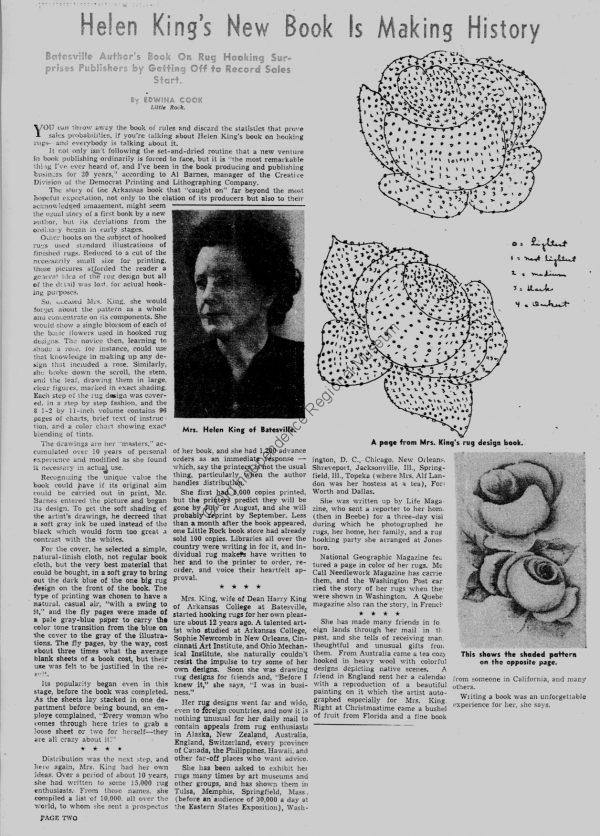 newspaper article on Helen King the author of a book on rug hooking