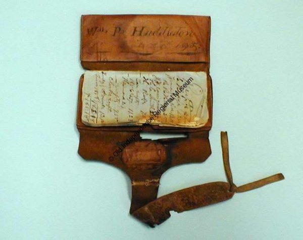 Leather wallet belonging to William P. Huddleston circa 1835